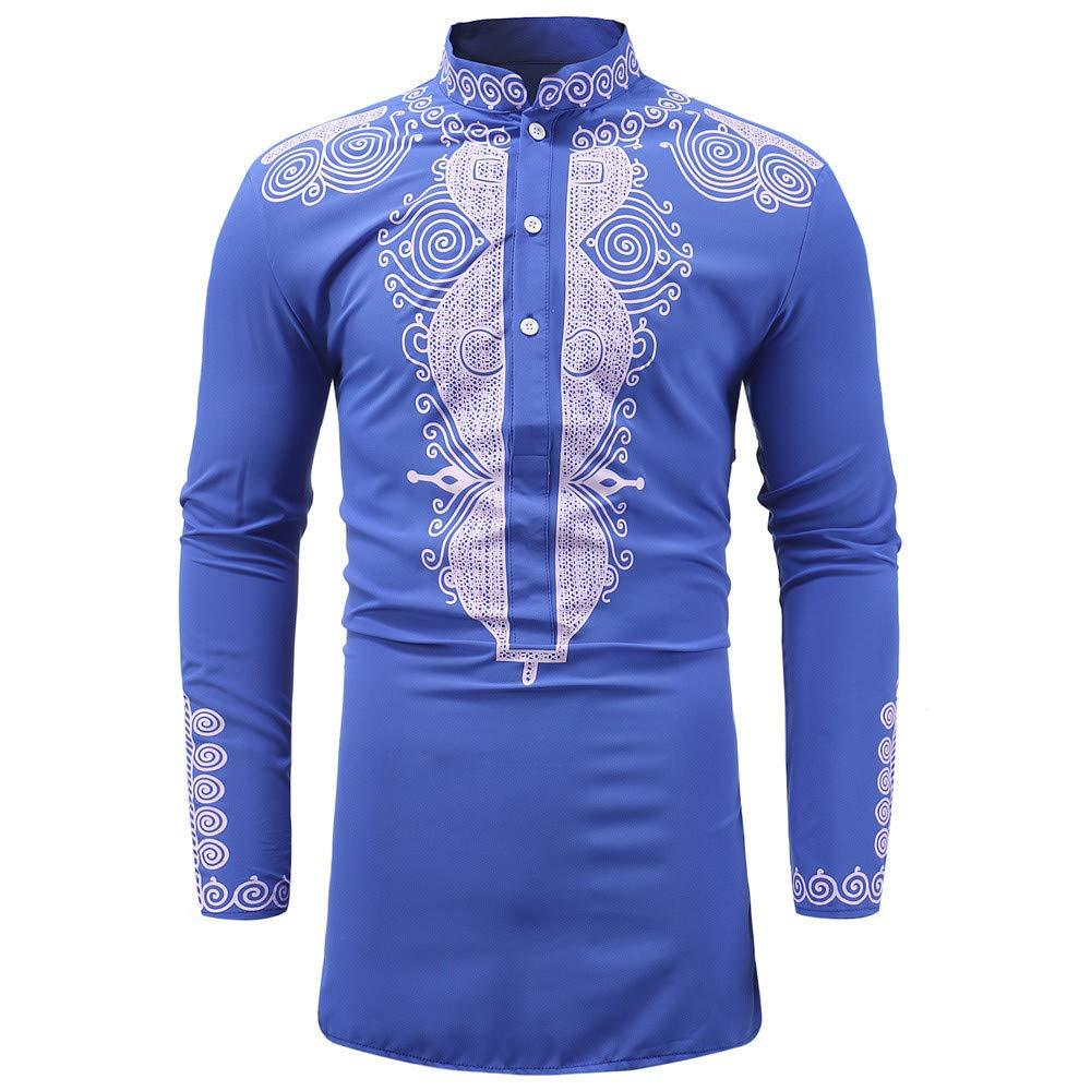 Chemises Rétro, YUYOUG Hommes Occasionnels Automne Hiver Africain Impression à Manches Longues Dashiki Chemisier Chemisier