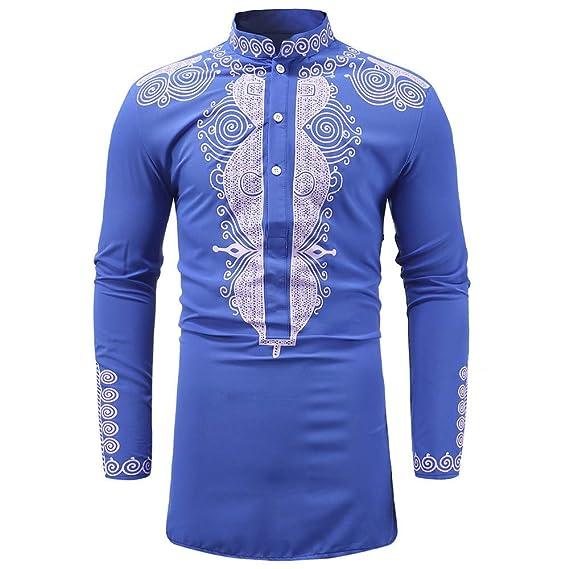 Camisa Dashiki de Manga Larga con Estampado Africano de Lujo de otoño