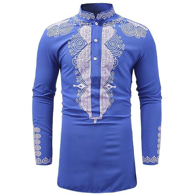 Beikoard Hombre Camisas,Hombres De Otoño De Invierno De Lujo Africano Imprimir Camisa De Manga