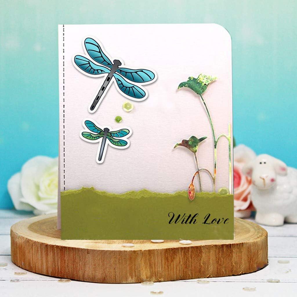 Ensemble De Tampons Et Dies De Decoupe Scrapbooking//Album//Carte Papier D/écoration Wr Timbre De Fleur De Libellule