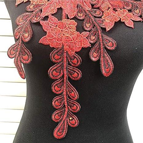 Yellow 1 Pcs 3D Venice Lace Fabric Dress Applique Motif Blouse Sewing Trims DIY Neckline Collar Costume Decoration Accessories