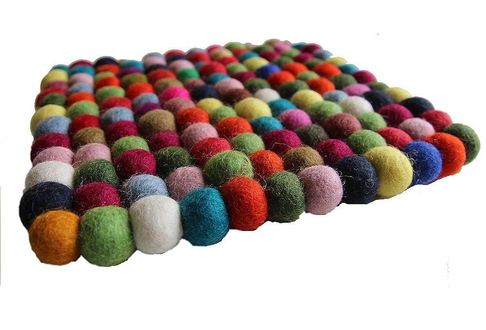 resistente al calor Maha Ranis Fieltro Posavasos Salvamanteles Kunterbunt cuadrado 22/x 22/cm hecha a mano lana pura
