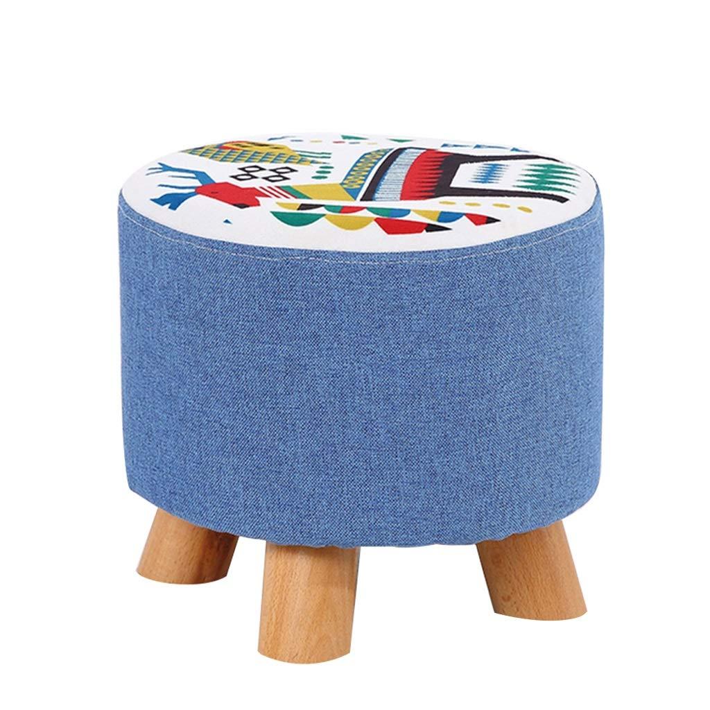 LQQ-FOOTSTOOL Taburete tapizado Otomano Taburete para niños Taburete de té ordeño Sofá Taburete de té de Piernas de Madera Redondas 4 Patas y Lino extraíble Acolchado 5804f2