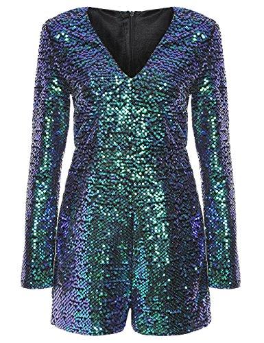ROMWE Women's Long Sleeve V Neck Sequin Bodycon Party Romper Dress Green XL