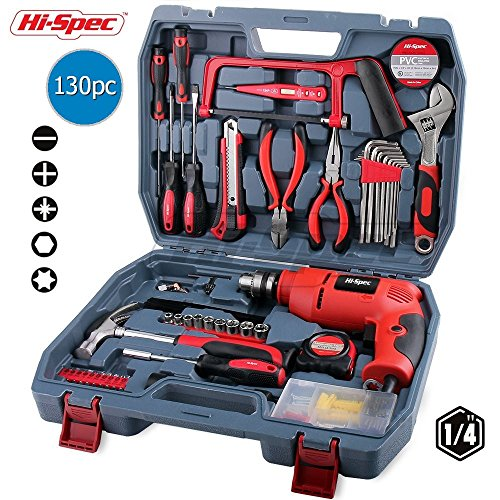 Hi-Spec 130pc 110V 300W Hammer Power Drill Tool Set Kit with Hacksaw, Pliers, Claw-Hammer, Wrench, Box Cutter, Hex Keys, Screwdrivers, Socket and Driver Bits Set, Voltage Tester inc. 60 (300 Screwdriver Set)