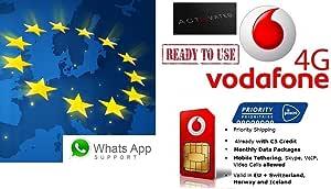 Tarjeta SIM de prepago europea, NL, 4 G/LTE, itinerancia de datos 4G gratis en 31 países (UE + EEE), disponible conexión, VoIP, Skype, de la marca Vodafone: Amazon.es: Electrónica
