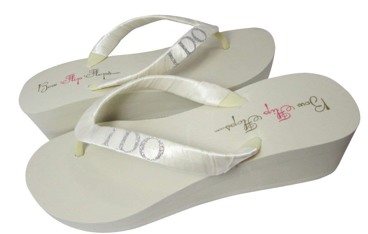 f2efda965c212 Amazon.com: Bridal I DO Glitter Lettering Wedge Heel Flip Flops ...