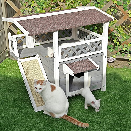 Petsfit Cat Wooden House, Waterproof House Cat Outdoor, Cat Outdoor Shelter with Cat Scratching Pad, Balcony (Grey)