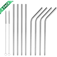 Hianjoo Stainless Steel Straws 8 Set, Reusable Metal Drinking Straws 8.5 inch with 2 Cleaning Brush for Milkshake, Smoothie, Cocktails and Hot Drinks