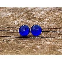 Recycled Vintage Cobalt Noxzema Jar Simple Post Earrings
