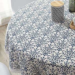 ColorBird Vintage Navy Damask Pattern Decorative Macrame Lace Tablecloth Heavy Weight Cotton Linen Fabric Decorative Table Top Cover (Round, 60 Inch, Navy Damask)