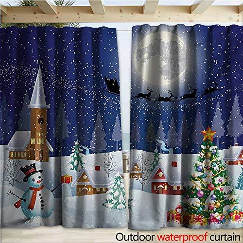 Grommet Curtain Panel Winter Season Snowman Xmas Tree Santa Sleigh Moon Present Boxes Snow and Stars W108 x L96 Blue White ()