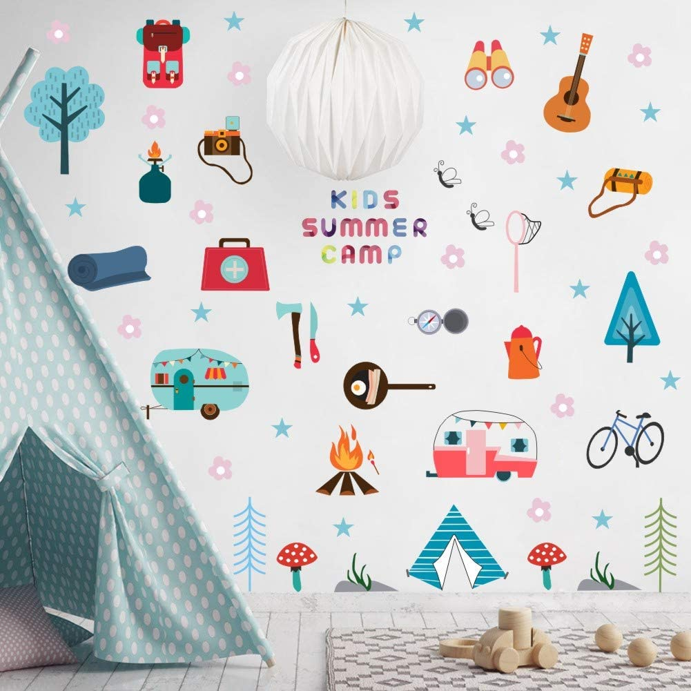 Kids Summer Camp Wall Decal, Tent, Flower, Tree, Guitar Outdoor Travel Camping Sticker for Nursery Classroom Decoration (45pcs Colorful Decals)