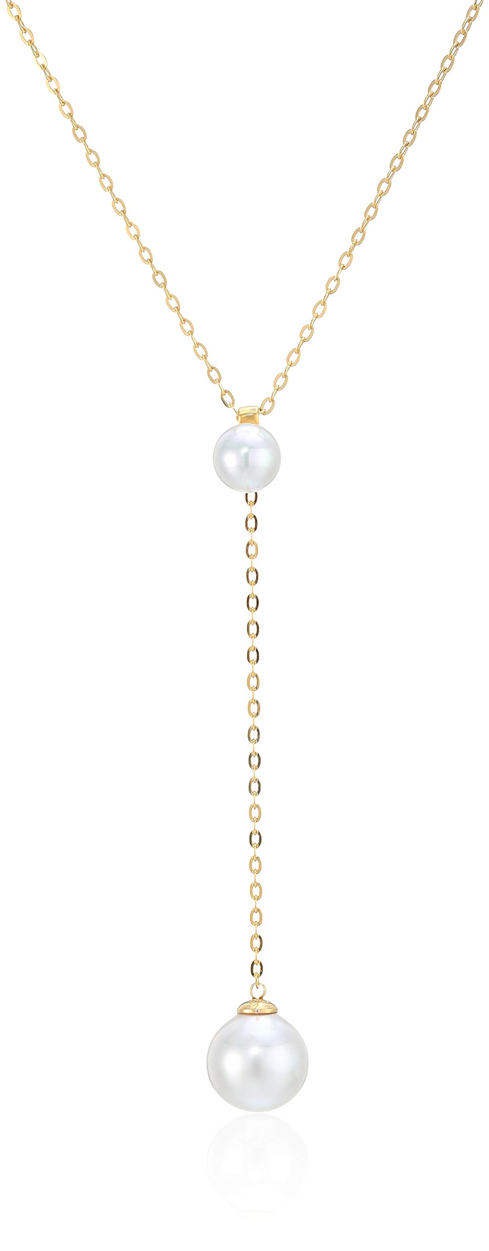 Majorica Womens Rosa 8-12MM White Round Pearls Chain Pendant In Gold Plated Silver