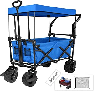 "Tintonlife Push and Pull Collapsible Utility Wagon, Heavy Duty Folding Wagon Cart with Removable Canopy&Brakes, 7"" All-Terrain Wheels, Adjustable Cart Handles for Shopping, Picnic, Beach, Camping Blue"