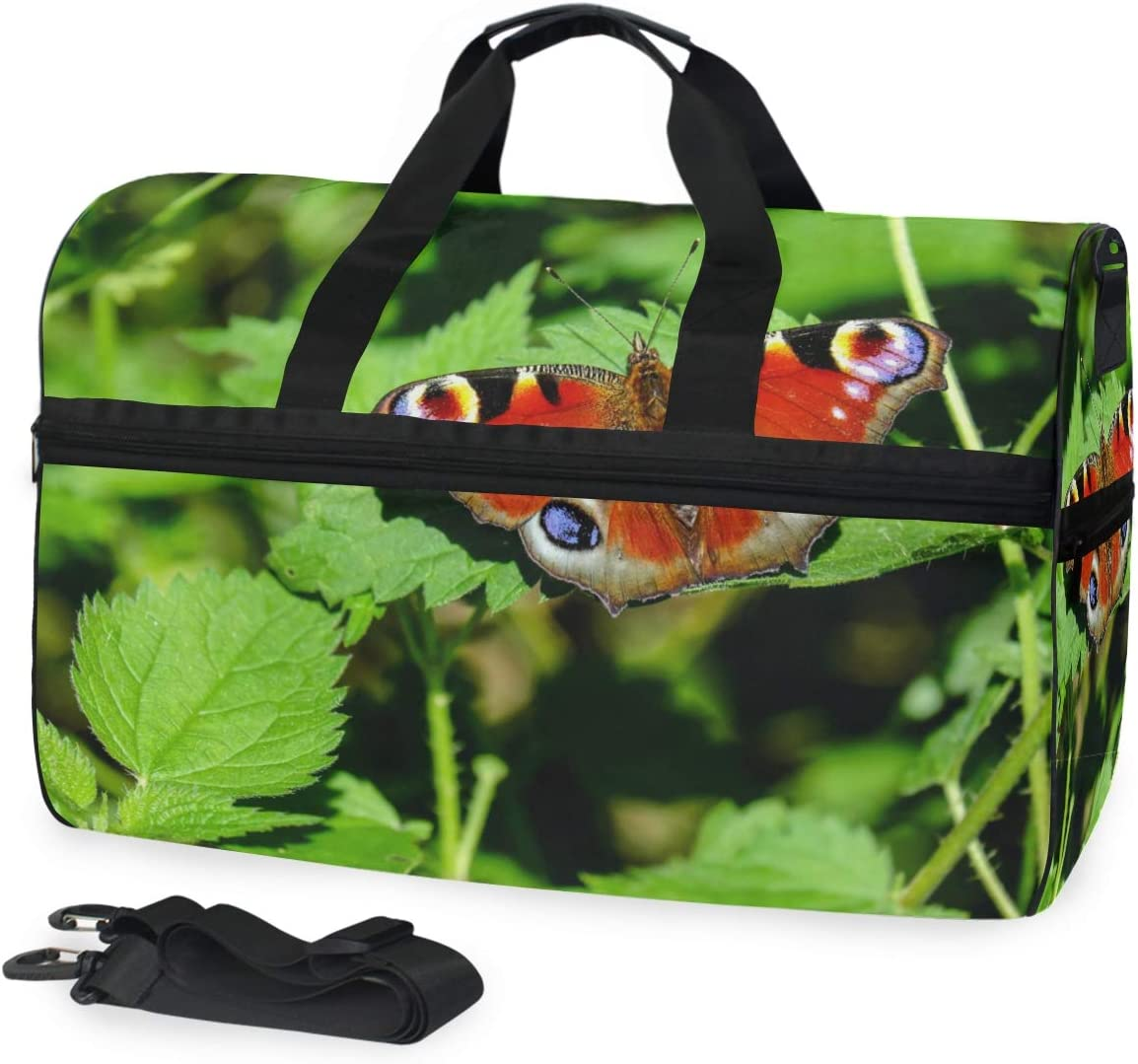 MUOOUM Peacock Butterfly Large Duffle Bags Sports Gym Bag with Shoes Compartment for Men and Women