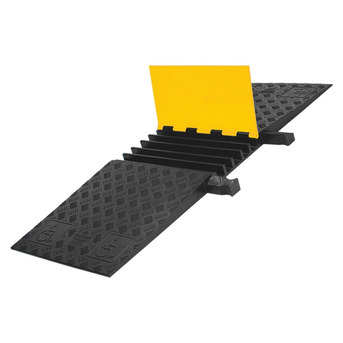 Yellow Jacket YJ5-125-ADA-Y/B Urethane 5-Channel ADA Cable Protector with Dog Bone Connectors, Yellow Lid with Black Base, 18'' Length, 50'' Width, 1.875'' Height