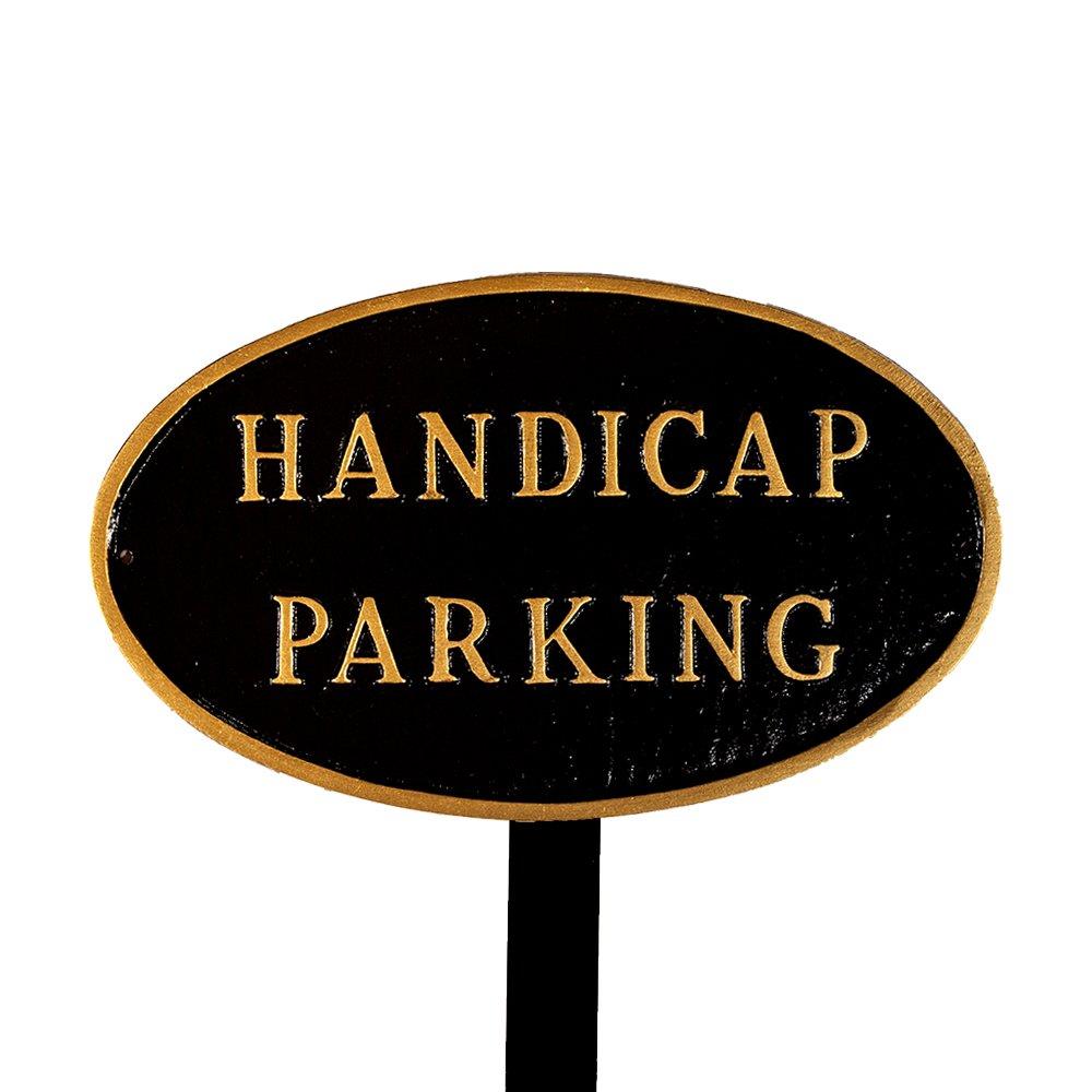 モンタギュー金属製品Handicap駐車場Oval Lawn Plaque 標準 ブラック SP-16S-BG-LS B00HRSMWH2  ブラック 標準