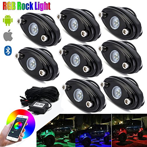 RGB LED Rock Lights Bluetooth Control Underglow Neon Lights Kit for Jeep Truck Off Road(8 Pods-RGB) - Underglow Neon Lights