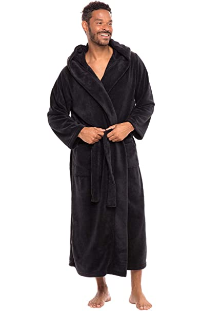 big discount best place for top-rated official Alexander Del Rossa Men's Warm Fleece Robe with Hood, Solid Color Big and  Tall Bathrobe