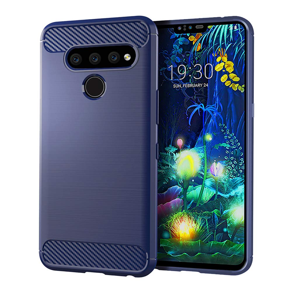Phone Case for LG V40 ThinQ with Tempered Glass Screen Protector Cover Cell Accessories Slim Bumper Rugged Full Body TPU Rubber Silicone LGV40 Storm V 40 Thin Q V40ThinQ 40ThinQ Women Men Girls Blue