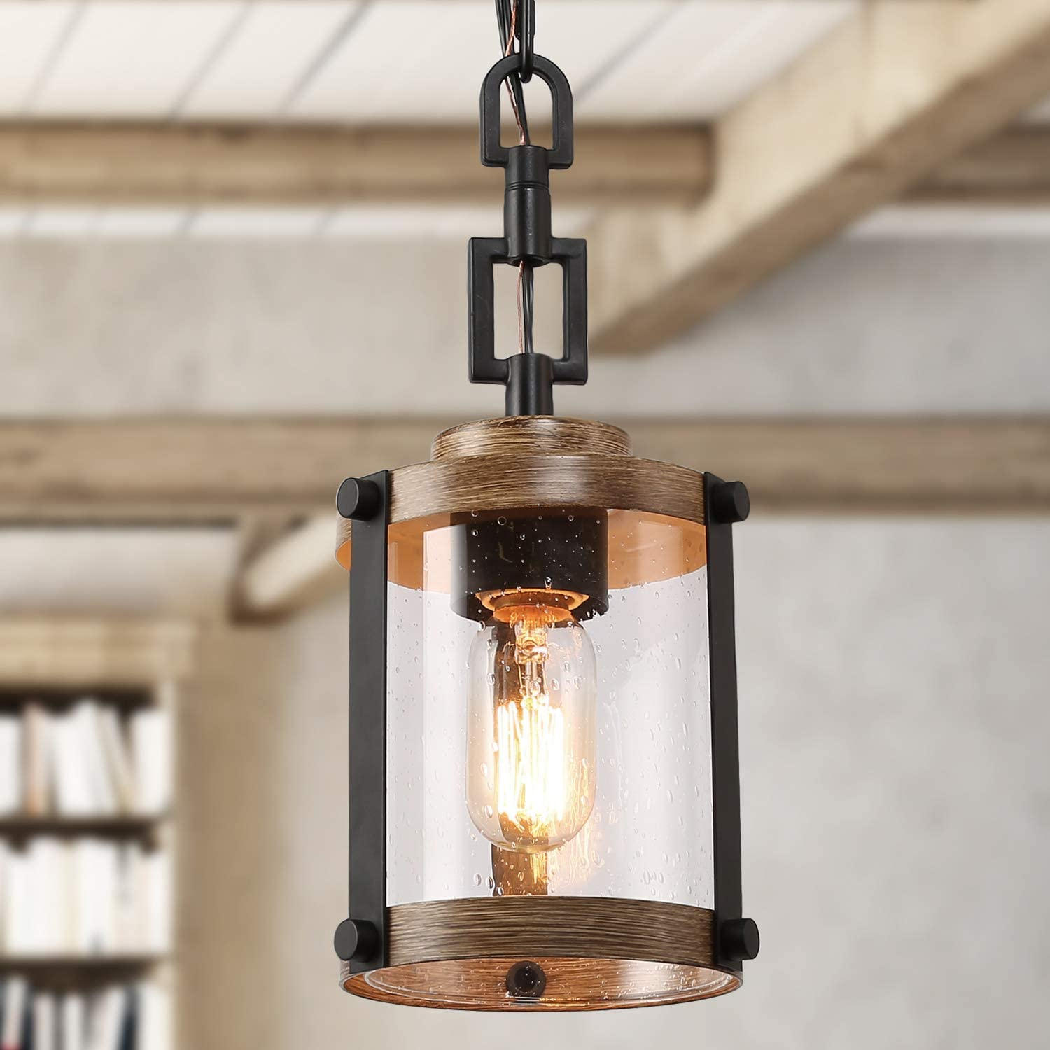 Log Barn Pendant Lighting For Kitchen Island Farmhouse Mini Chandelier In Faux Wood Metal With Bubbled Glass Shade Rustic Ceiling Fixture Hanging For Dining Room Hallway Amazon Com