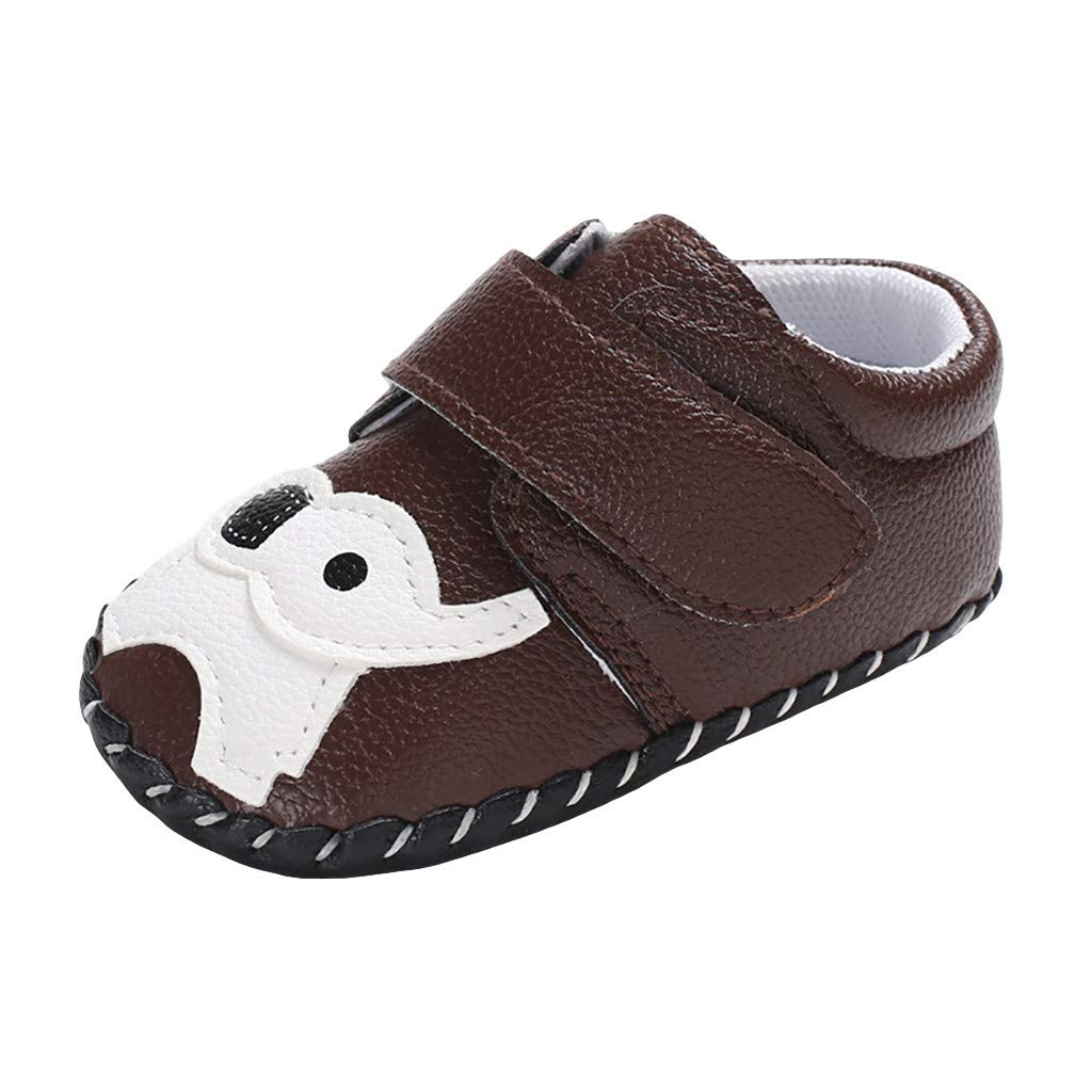 Unisex Baby Cartoon Shoes,Jchen Newborn Girl Boy Cute Cartoon Elephant First Walker Shoes Soft Non-Slip Shoes for 0-18 Months (Age:6-12 Months, Brown)