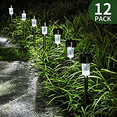FC-Fancier Solar Lights for Outdoor Garden Led Light Landscape / Pathway Lights, Bright White, Waterproof,Stainless Steel-12 Pack