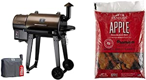 Z GRILLS ZPG-450A 2020 Upgrade Wood Pellet Grill & Smoker 6 in 1 BBQ Grill Auto Temperature Control, 450 sq in, Bronze & Traeger Grills PEL318 Apple 100% All-Natural Hardwood Pellets (20 lb. Bag)