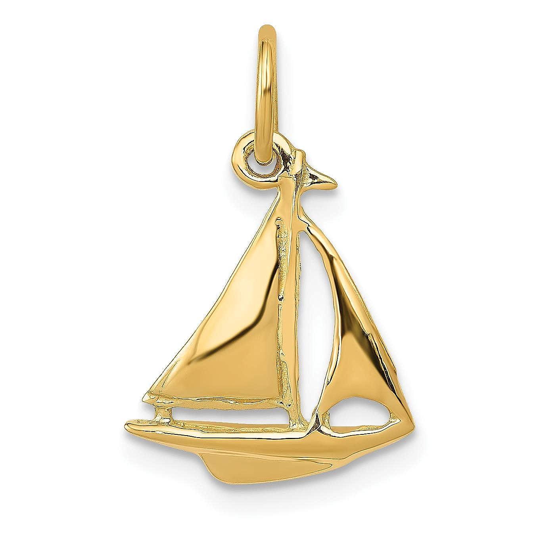 12 x 19 mm Mireval 14k Yellow Gold Sailboat Charm