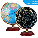 Illuminated World Globe With Wooden base - Night View Stars Constellation Pattern Globe with Detailed World Map,Built-in LED Bulb, No Battery Required, Educational Gift, Night Stand Decor