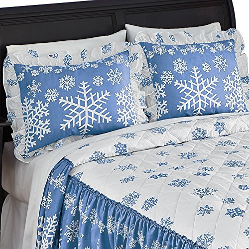 Blue White Winter Snowflake Pillow
