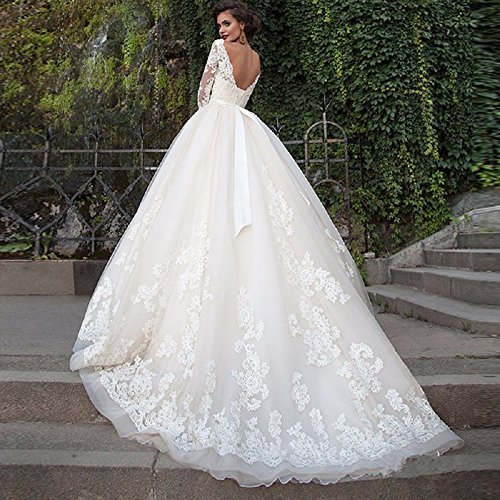 Langarm Aiyana Damen A Voller Linie Brautkleid Hochzeitskleid ballkleid Elfenbein Spitze Ärmel 6waRr6TqW