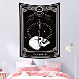 Qinunipoto Black Tarot Tapestry Astrology The World White Skull Tapestry Wall Hanging Goth Death Tapestry Constellation Hippi