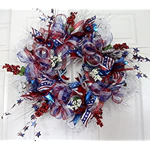 Extra large Patriotic wreath for front door, 4th of july patriotic decor, Americana Red White Blue decorations 49