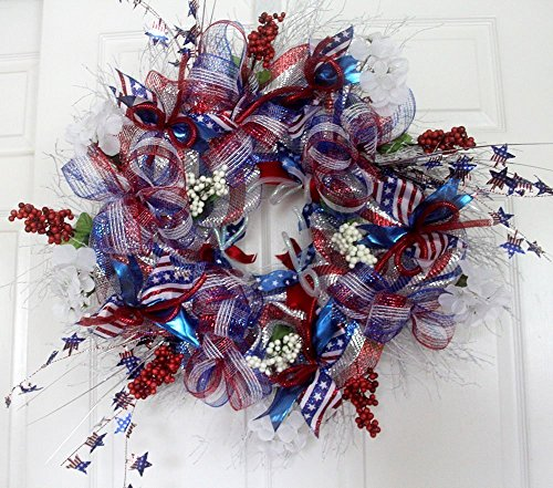 Extra large Patriotic wreath for front door, 4th of july patriotic decor, Americana Red White Blue decorations