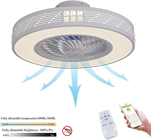 Hlidpu Ventilador de Techo con Lámpara, Ventilador Invisible LED ...