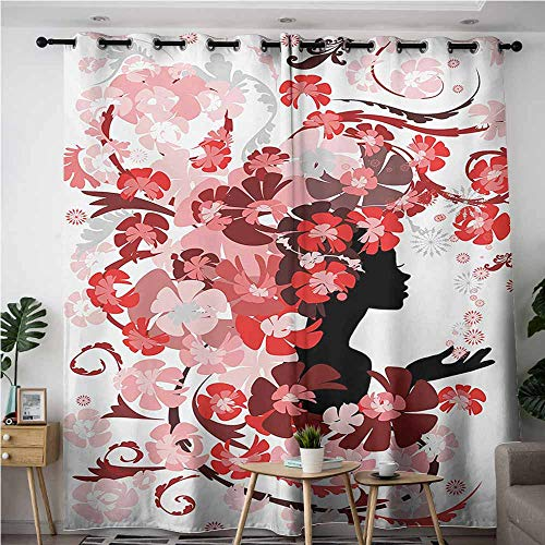 Willsd Thermal Insulating Blackout Curtains,Girls Flower Girl with Hair Long Swirling Pink Blossoms Hair Dressers Beauty Feminine,Room Darkening, Noise Reducing,W84x72L,Red Pink - Paris Master Dresser