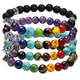 Milakoo 5 Pcs Lava Rock Bracelet 7 Chakra Hamsa Hand Evil Eye Bracelet for Men Women Yoga Healing