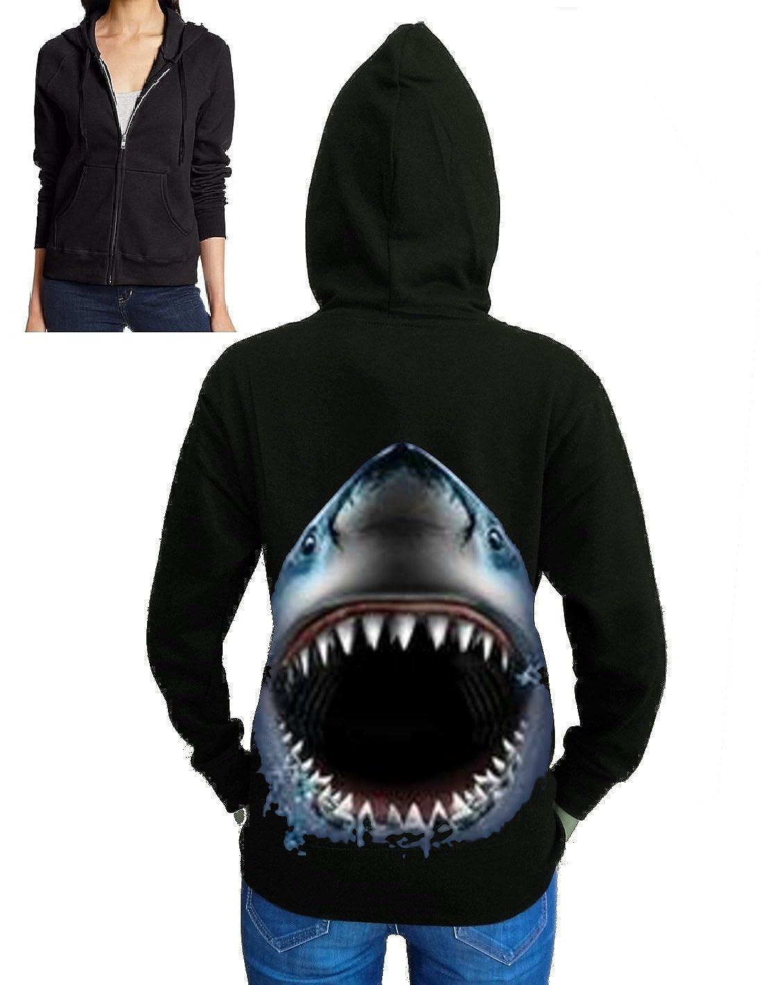 Shark Face Zipper Hoodie Fleece S-2XL Juniors