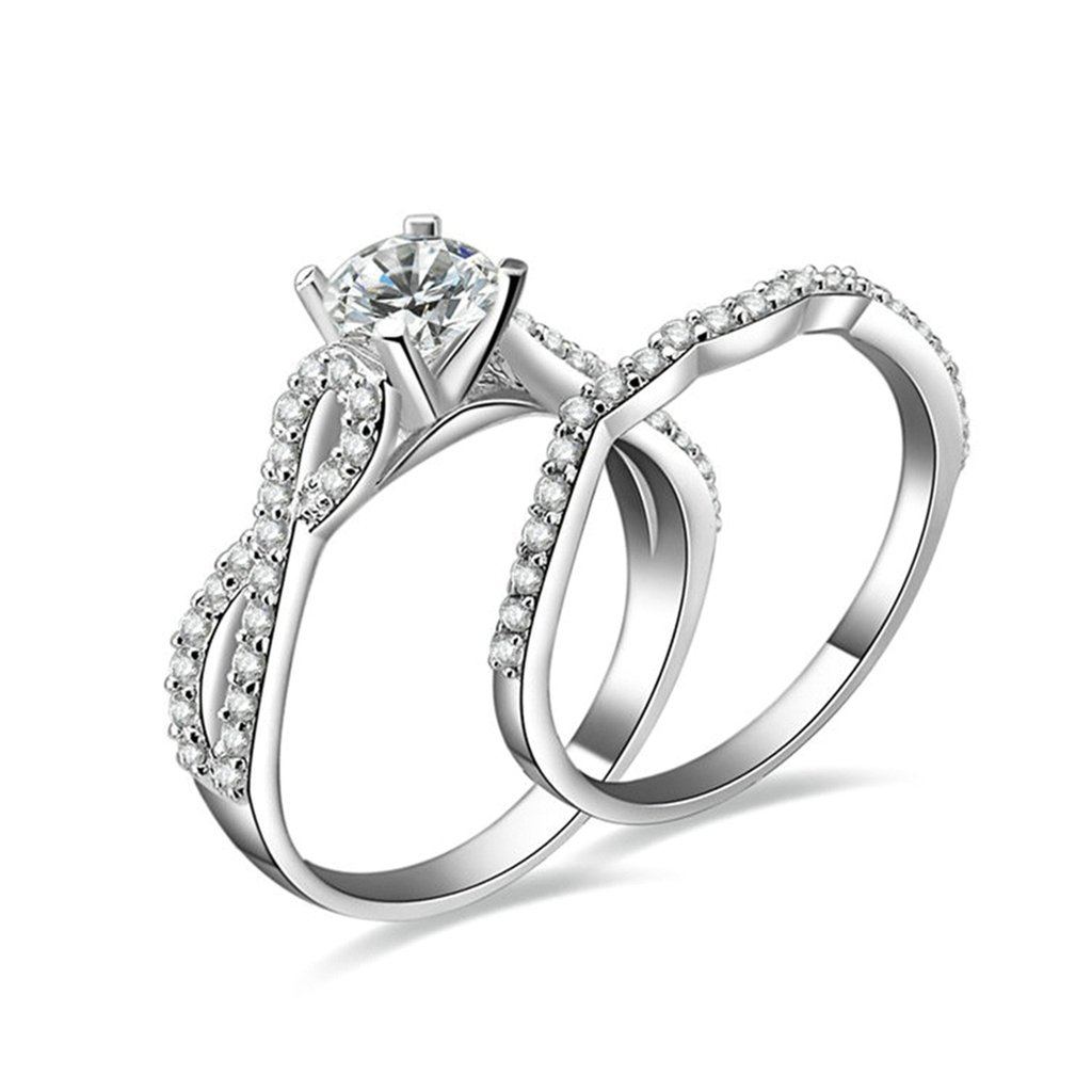 Bishilin Silver Plated Infinity Womens Wedding Ring Sets Round Cut Cubic Zirconia Inlaid Size 8.5