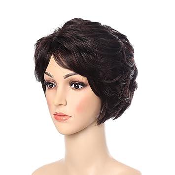 SHKY Pelucas marrones oscuras cortas - pelucas marrones chinas naturales y elegantes con las explosiones,