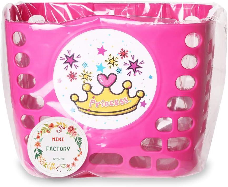 Pink Cute Princess Crown//Butterflies//Lovely Unicorn Pattern Bicycle Front Handlebar Basket for Kid Girls MINI-FACTORY Kids Bike Basket