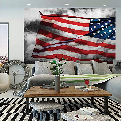 American Flag Huge Photo Wall Mural,Banner in The Sky on Cloudy Mist Display National Symbol Proud of Heritage,Self-Adhesive Large Wallpaper for Home Decor 108x152 inches,Grey Red Blue ()