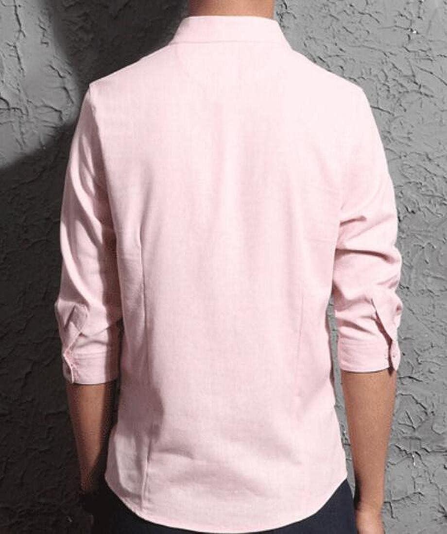 BOBOYU Men Slim 3//4 Sleeve Stand Collar Chinese Style Cotton Linen Dress Shirts