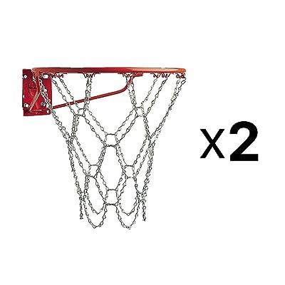 Champion Sports Heavy Duty Metal Chain Link Zinc Steel Basketball Net (2-Pack)