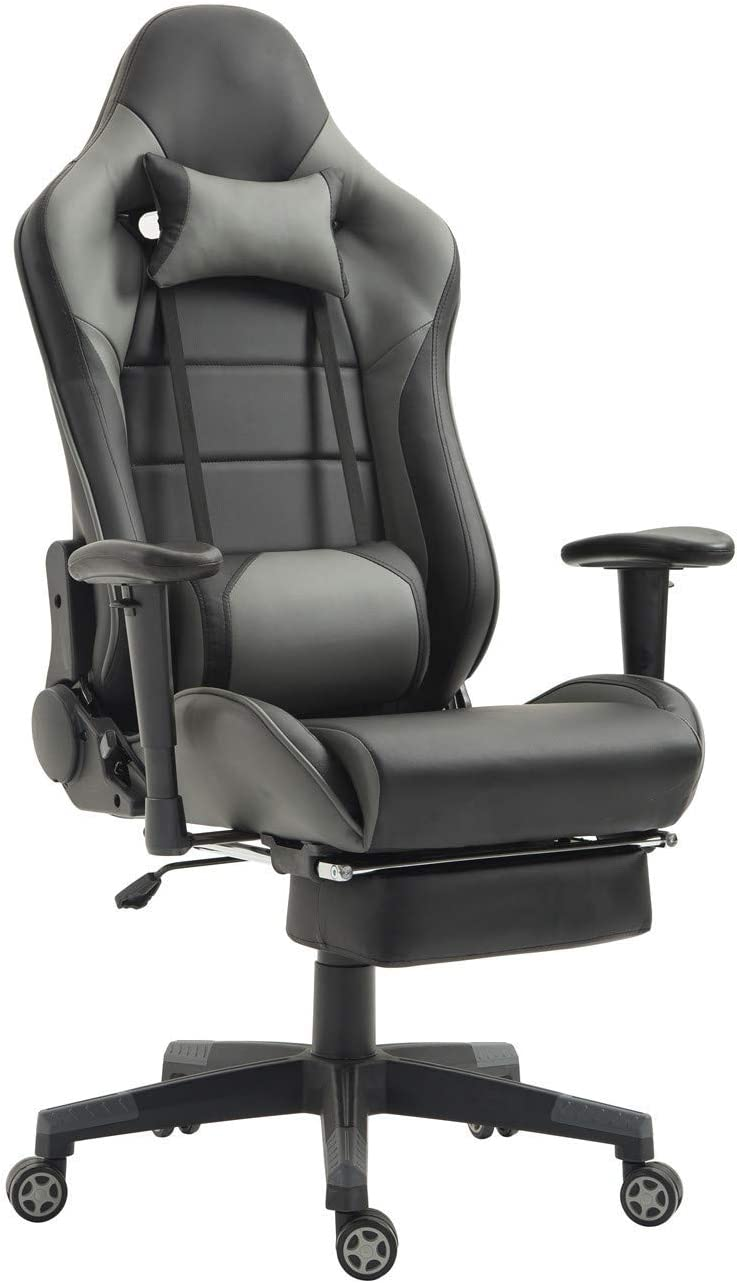 Gaming Chair Computer Game Chair Racing Office Chairs Ergonomic Backrest and Seat Height Adjustment Recliner Swivel Rocker with Headrest and Lumbar Pillow E-Sports Chair Grey Black