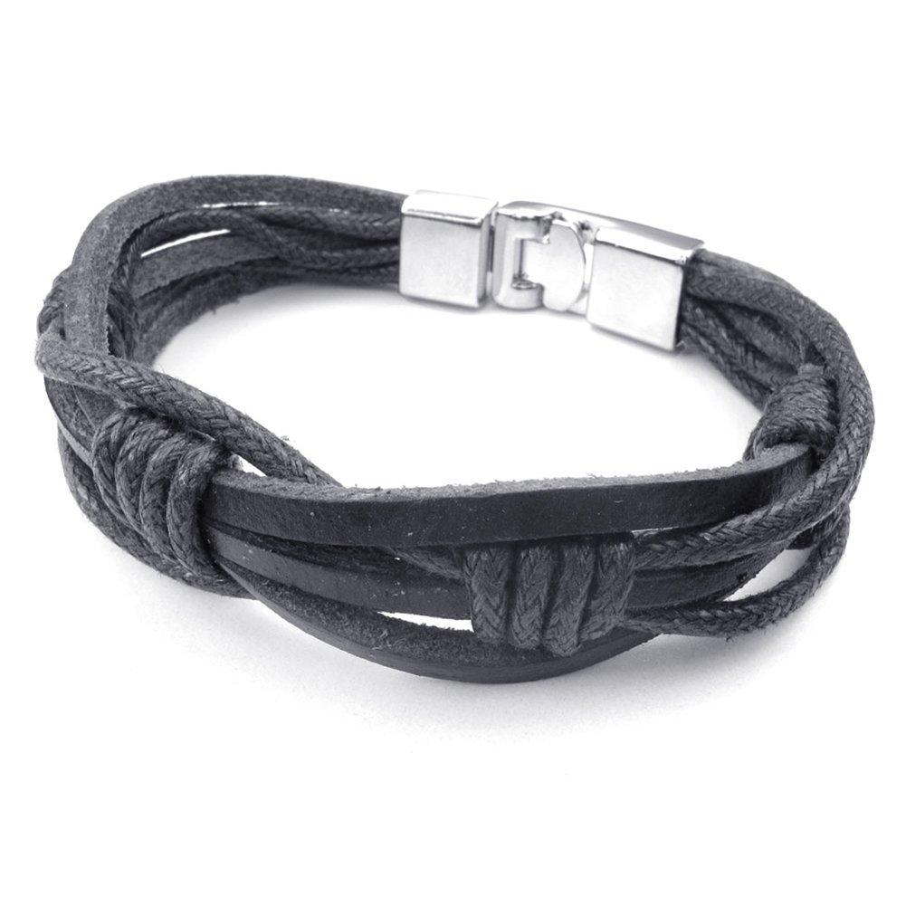 TEMEGO Jewelry Mens Womens Genuine Leather Rope Bracelet, Punk Rock, Black Silver