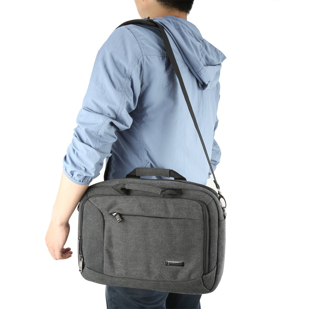 13.3 inch Laptop Messenger Bag, Evecase 13.3'' - 14'' Canvas Messenger Bag - Dark Grey w/Handles, Shoulder Strap for laptops, Samsung ultrabooks, Apple MacBook, Microsoft, Sony Tablet PC by Evecase (Image #7)