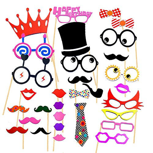 [Cxy Photo Booth Props 31pcs Diy Kit For Birthday Party, Various Colors of Mustache, Glasses Frames, Ties, Lips, Crown, Pipe, Eyes, Hat and Happy Birthday] (Homemade Halloween Decorations Made From Paper)